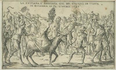 La alcahueta azotada con un plumero en la cabeza, de  Mitelli (1696, c.)
